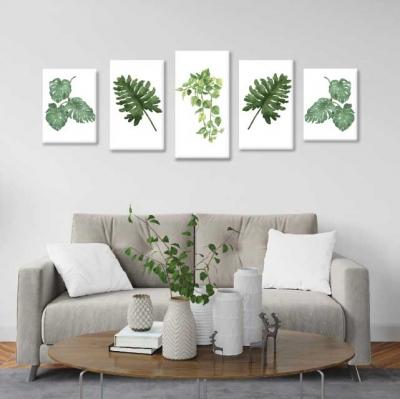 Hojas y plantas - 5 módulos - 150 x 60cm - Modelo: CH_002