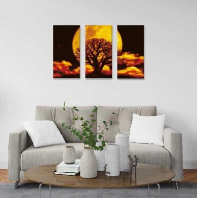 Árbol de la vida y la luna llena -  3 módulos - 60 x 60cm - Modelo: CAR_002