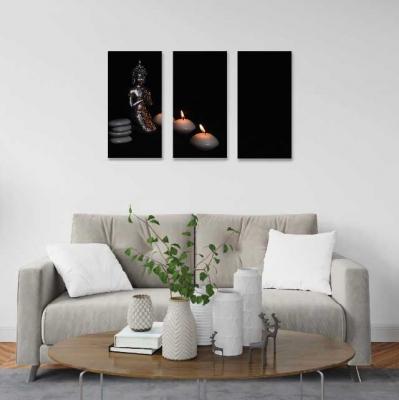 Buda con velas -  3 módulos - 60 x 60cm - Modelo: CBD_004
