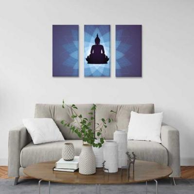 Buda y flor de loto - 3 módulos - 90 x 60cm - Modelo: CBD_001