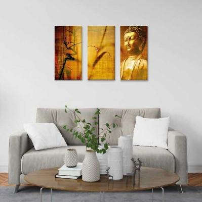Buda en lienzo - 3 módulos - 60 x 60cm - Modelo: CBD_006