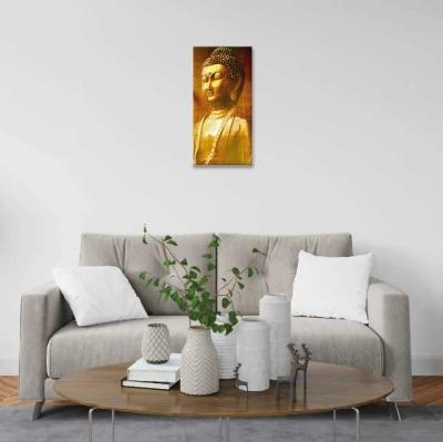 Buda dorado sobre lienzo - 1 módulo - 30 x 60cm- Modelo: CBD_006
