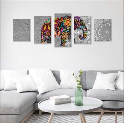 Mándalas y elefante - 5 módulos - 100 x 60cm - Modelo: CMDL_001
