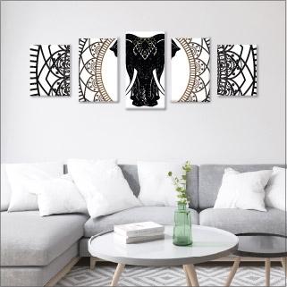 Mándalas y elefante - 5 módulos - 100 x 60cm - Modelo: CMDL_002