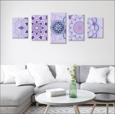 Mándalas violetas - 5 módulos - 100 x 60cm - Modelo: CMDL_003