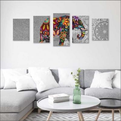 Elefante y mandalas - 5 módulos - 150 x 60cm - Modelo: CMDL_001