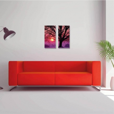 Árbol de la vida atardecer - 2 módulos - 60 x 60cm - Modelo:CAR_014