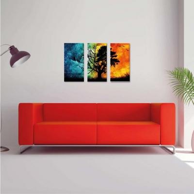Árbol de la vida entre colores -  3 módulos - 60 x 60cm - Modelo: CAR_006