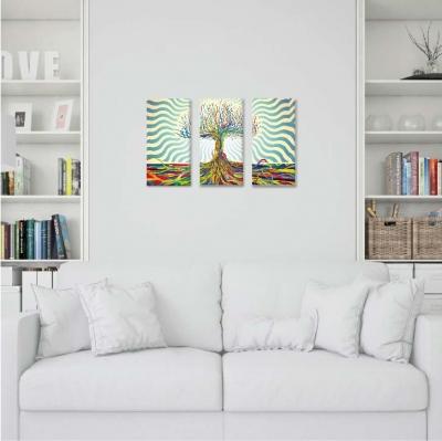 Árbol de la vida con colores - 3 módulos - 90 x 60cm - Modelo: CAR_007