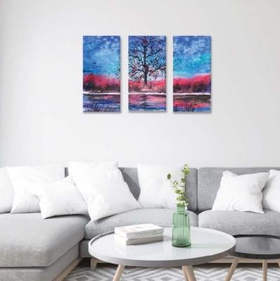 Árbol de la vida en bosque rosa-  3 módulos - 60 x 60cm - Modelo: CAR_012