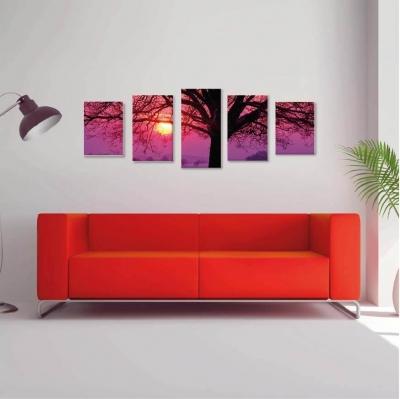 Árbol de la vida atardecer - 5 módulos - 150 x 60cm - Modelo: CAR_014