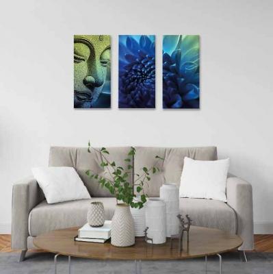 Buda y flor de loto - 3 módulos - 60 x 60cm - Modelo: CBD_010