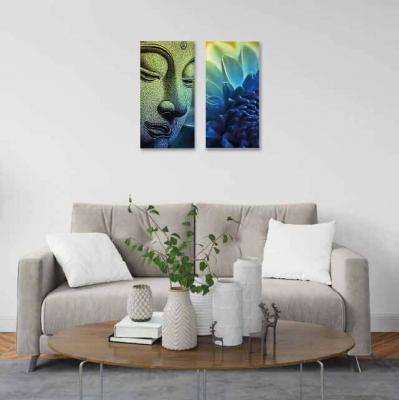 Buda y flor de loto -  2 módulos - 40 x 60cm- Modelo: CBD_010