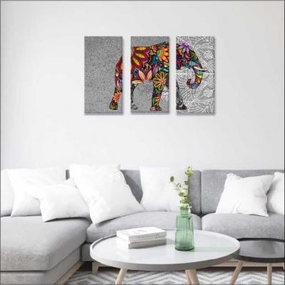 Elefantes y mándalas - 3 módulos - 90 x 60cm - Modelo: CMDL_001