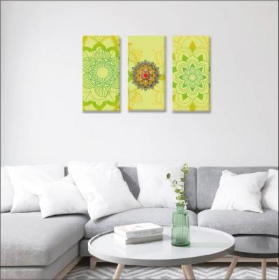 Mándalas verdes - 3 módulos - 90 x 60cm - Modelo: CMDL_005