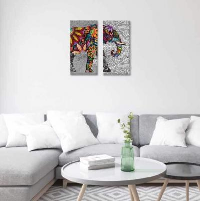 Elefantes y mándalas -  2 módulos - 40 x 60cm- Modelo: CMDL_001